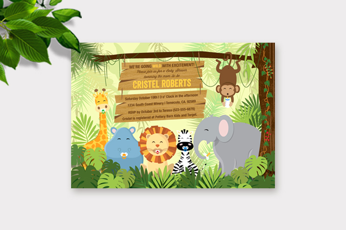 Jungle Baby Shower Invitation by Cute Muse.