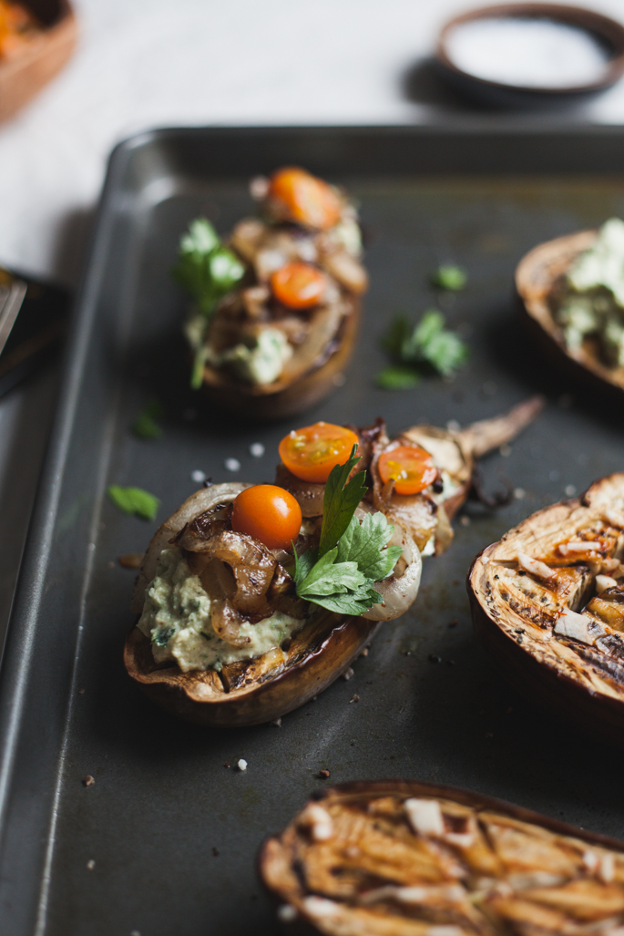 eggplant with artichoke chevre spread with fried onions   recipe by will frolic for frolic