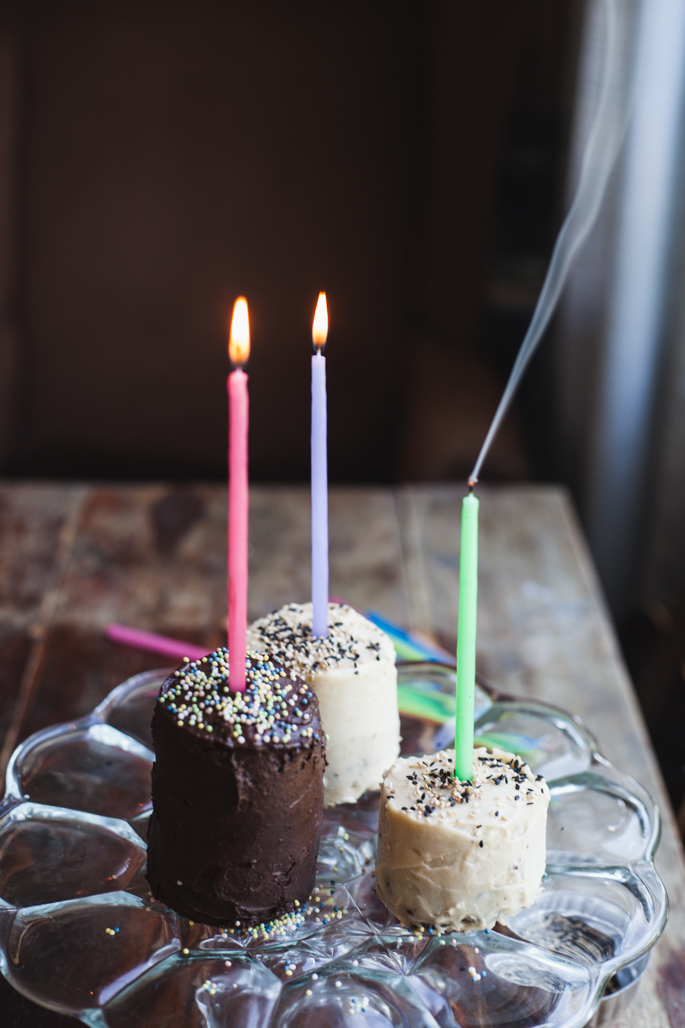 chocolate birthday mini cakes with mocha a tahini frosting | recipe via will frolic for food