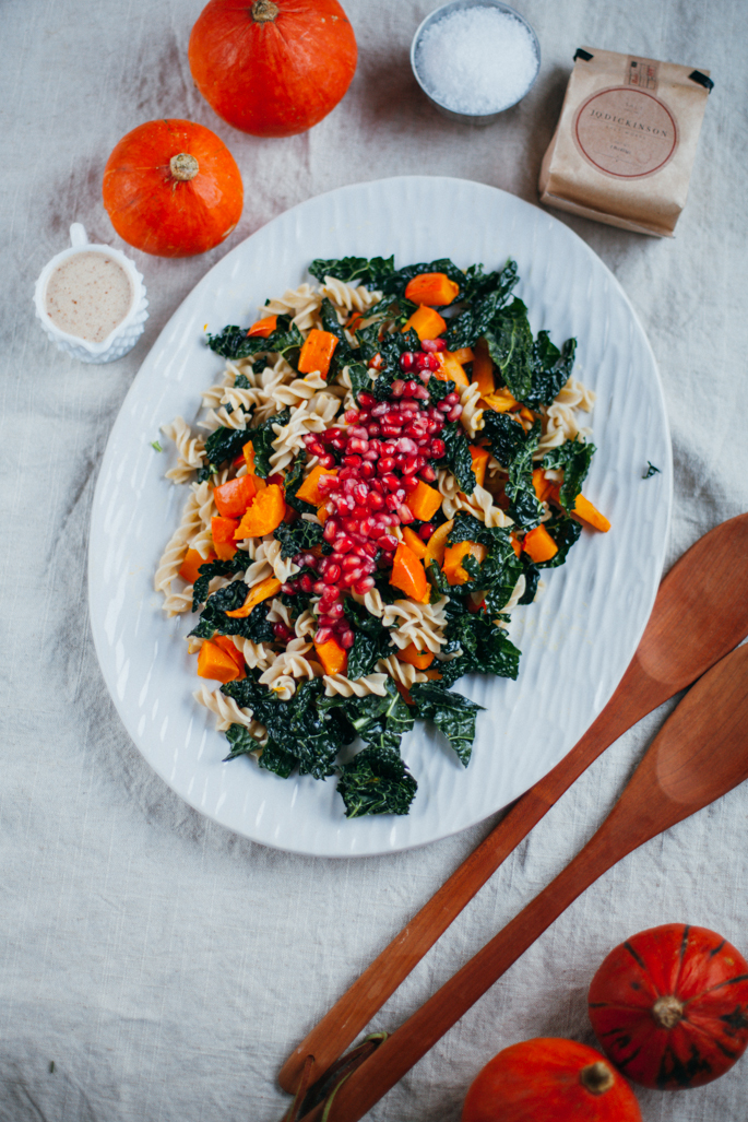 autumn squash confetti pasta salad * a giveaway with J. Q. Dickinson Salt via Will Frolic for Food