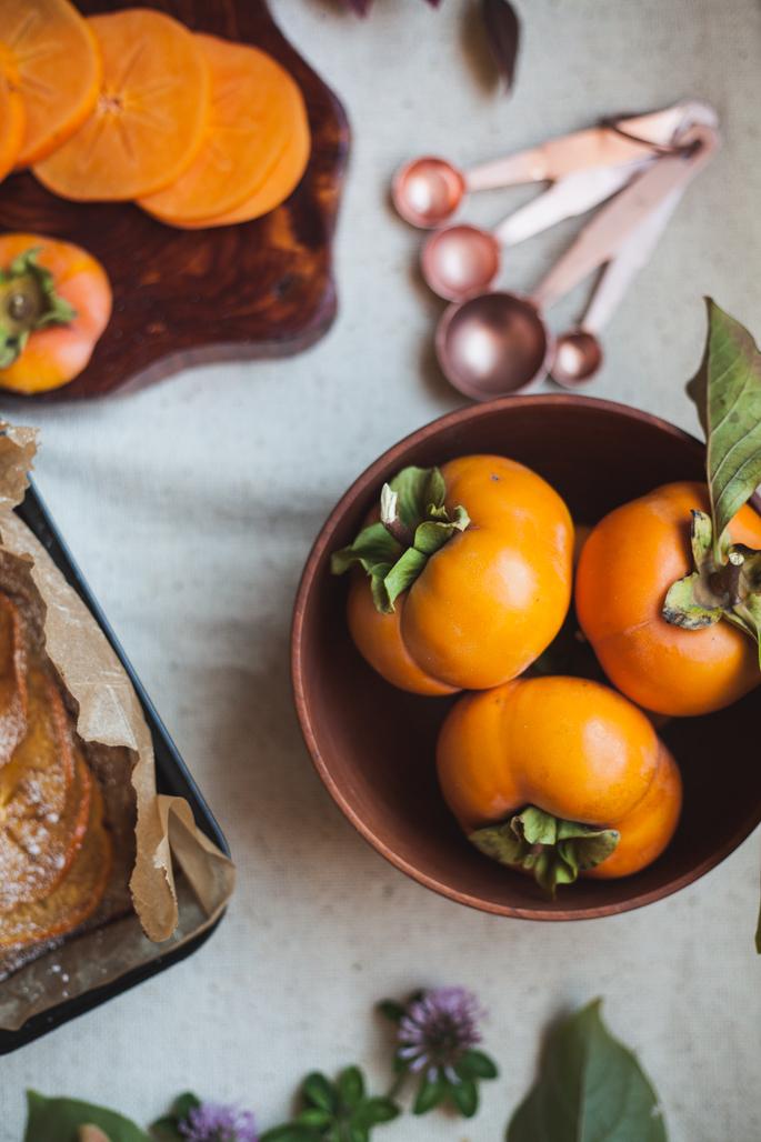 gluten free persimmon macadamia nut cake recipe via will frolic for food