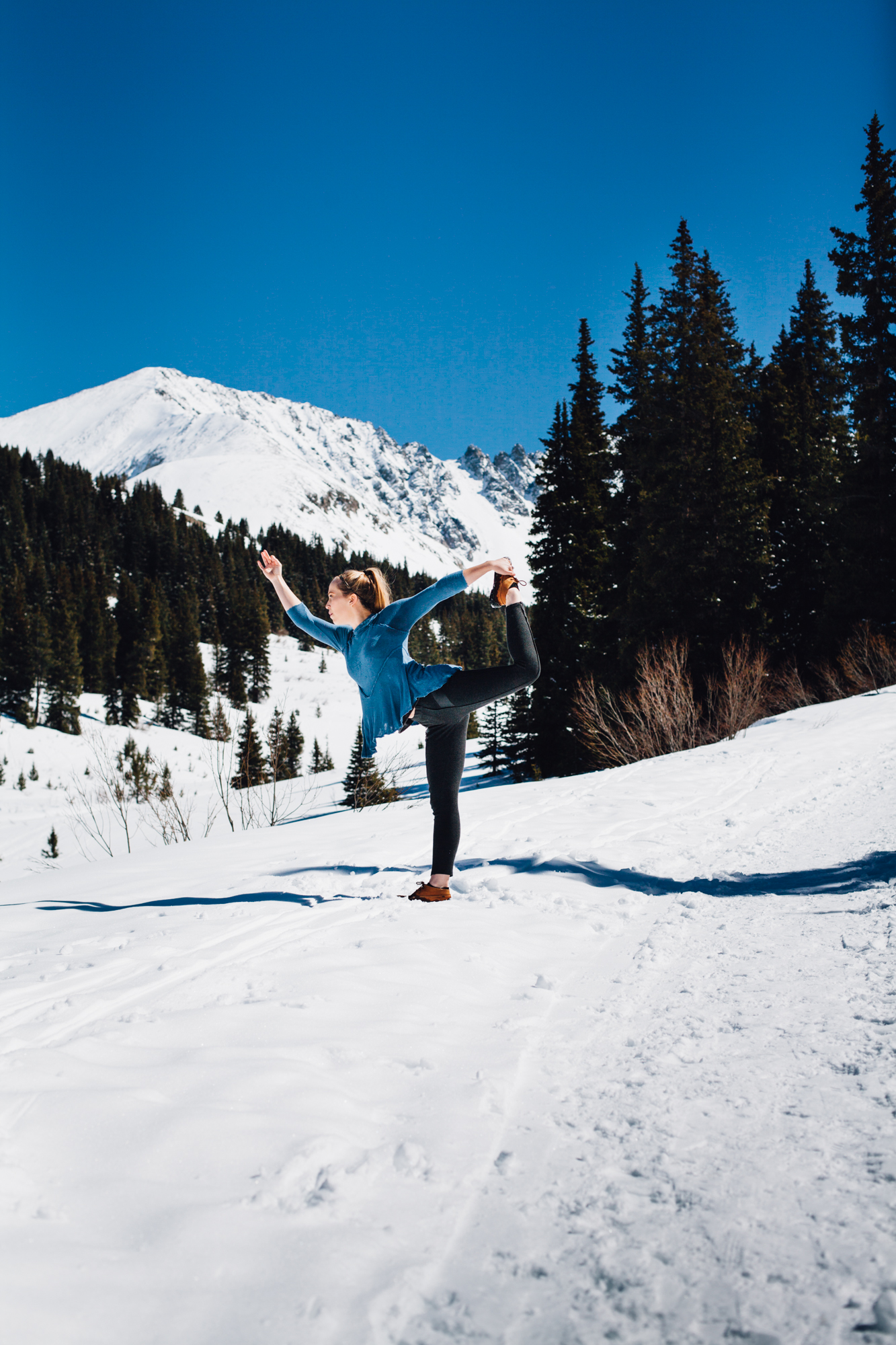 king dancer pose in the Frisco, CO mountains via will frolic for food