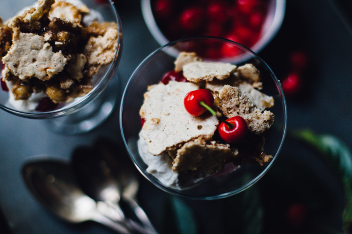 sour cherry hazelnut eton mess | dairy free, gluten free recipe via will frolic for food
