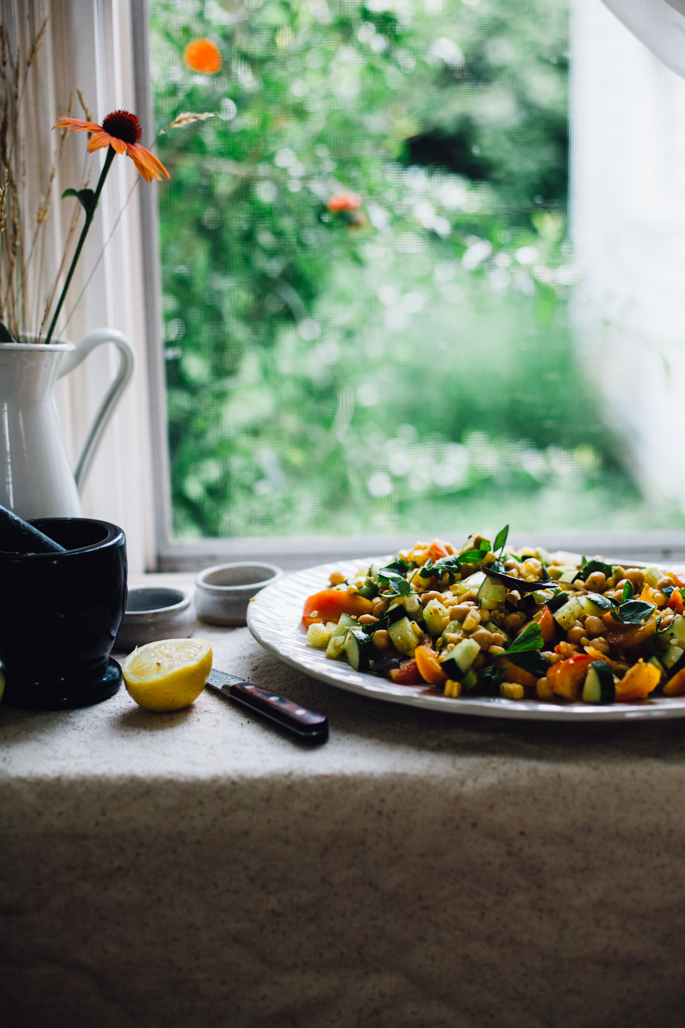 spicy basil and sweet corn succotash | vegan and gluten free recipe via will frolic for food