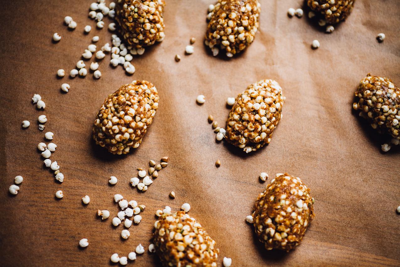 almond butter millet puff easter eggs   vegan and gluten free recipe via willfrolicforfood.com