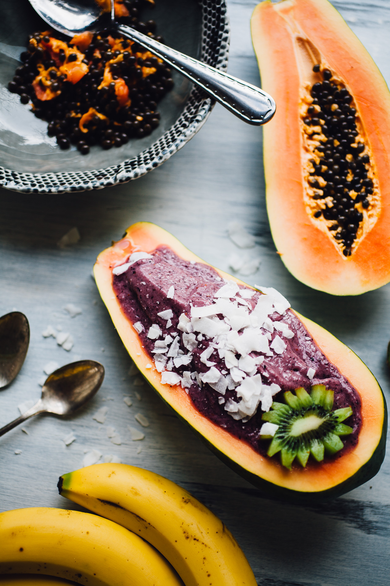 smoothie bowl papaya boats   recipe via willfrolicforfood.com