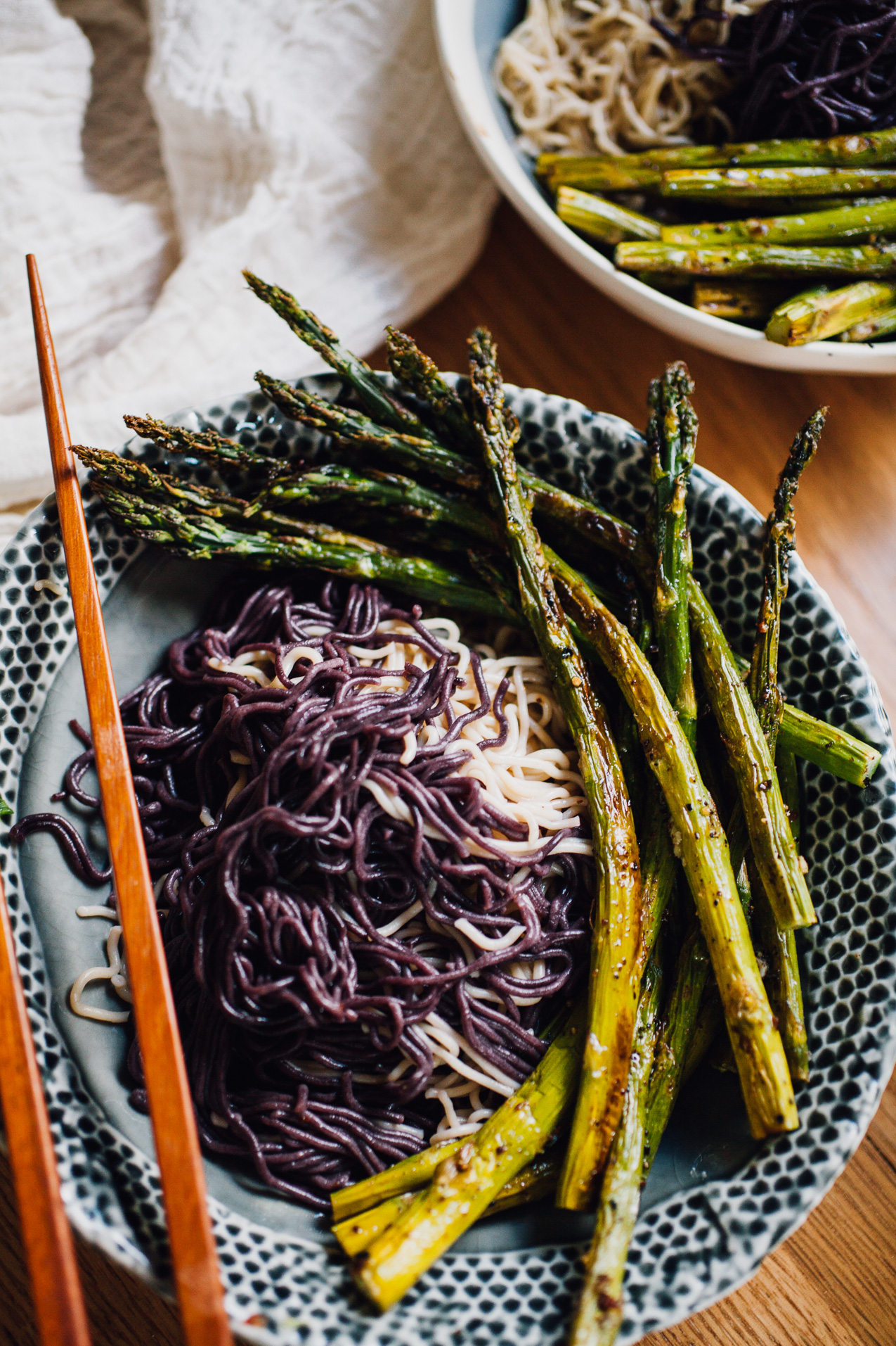 tahini gochujang ramen bowls with garlicky sumac roasted asparagus |recipe via willfrolicforfood.com