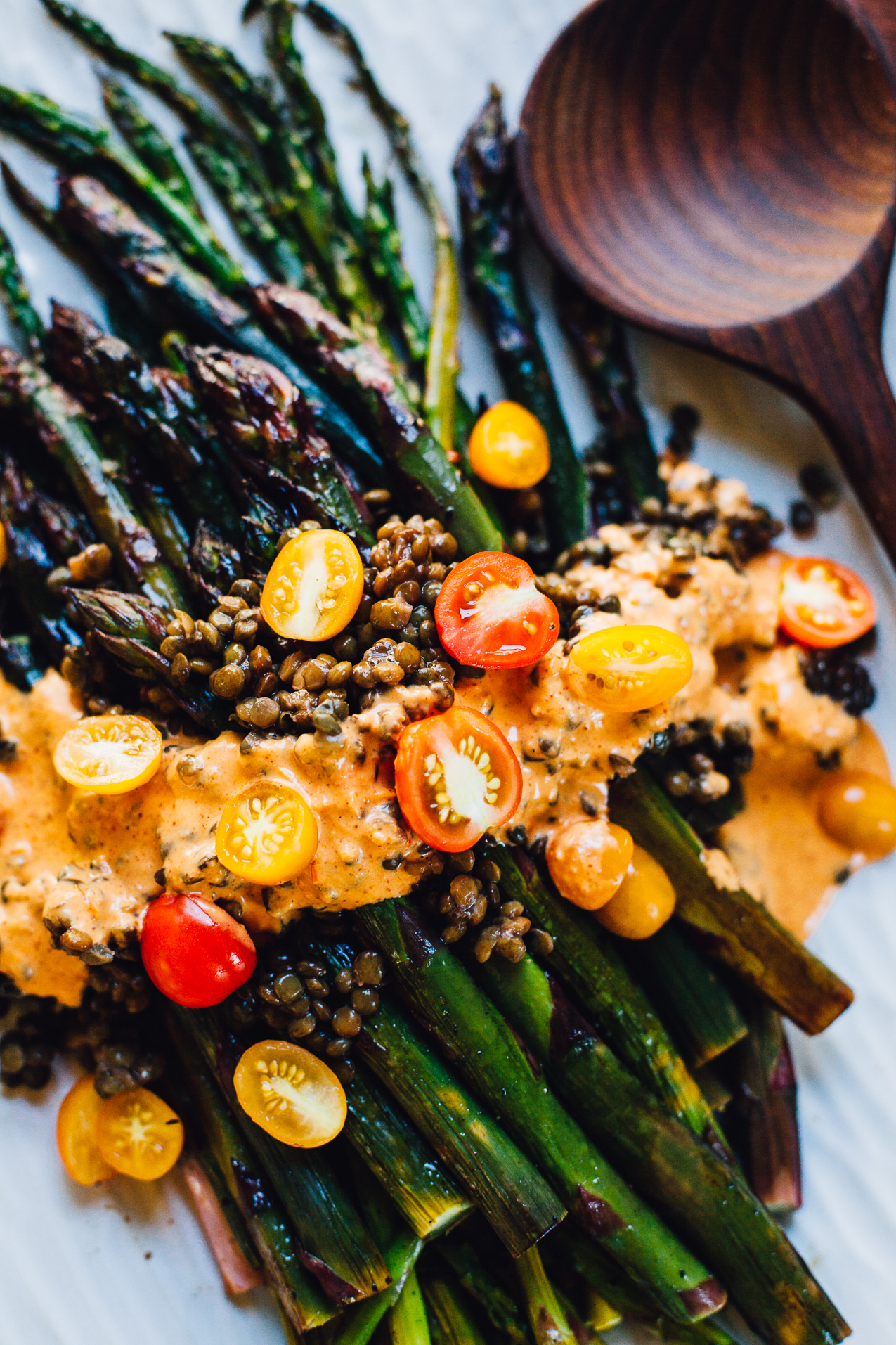 roasted asparagus with romesco sauce and french lentils | vegan recipe via willfrolicforfood.com