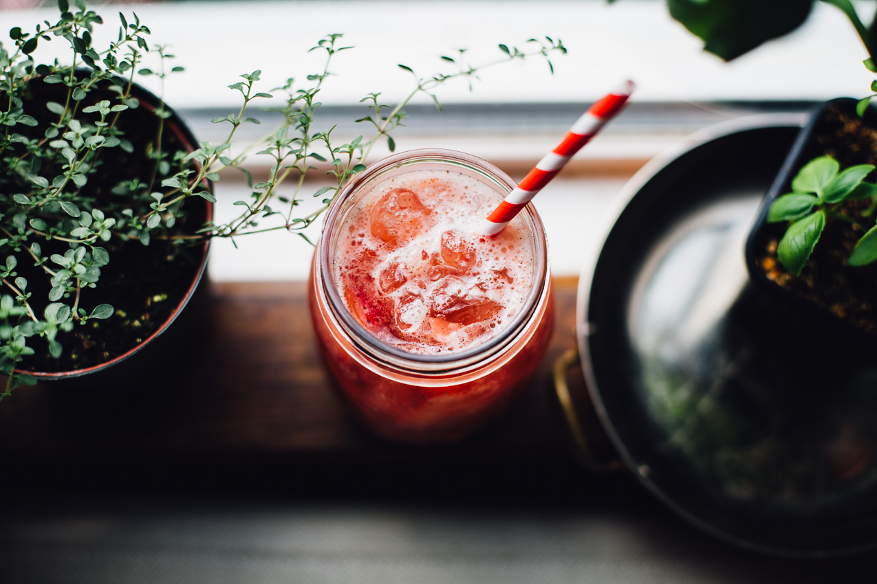 roasted strawberry rhubarb agua fresca | refined sugar free recipe via willfrolicforfood.com