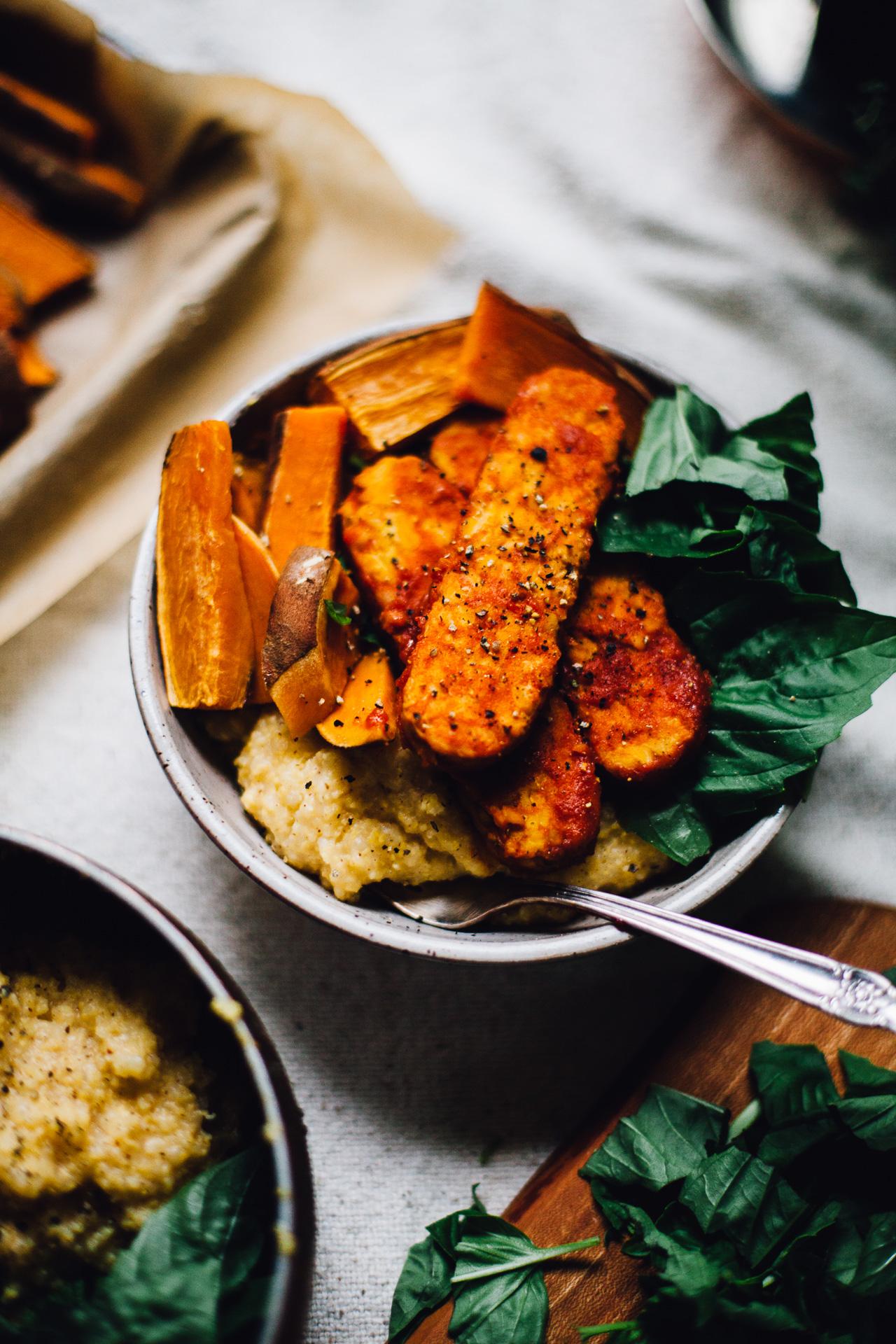gochujang tempeh bowls with sweet potato, polenta and basil | recipe via willfrolicforfood.com