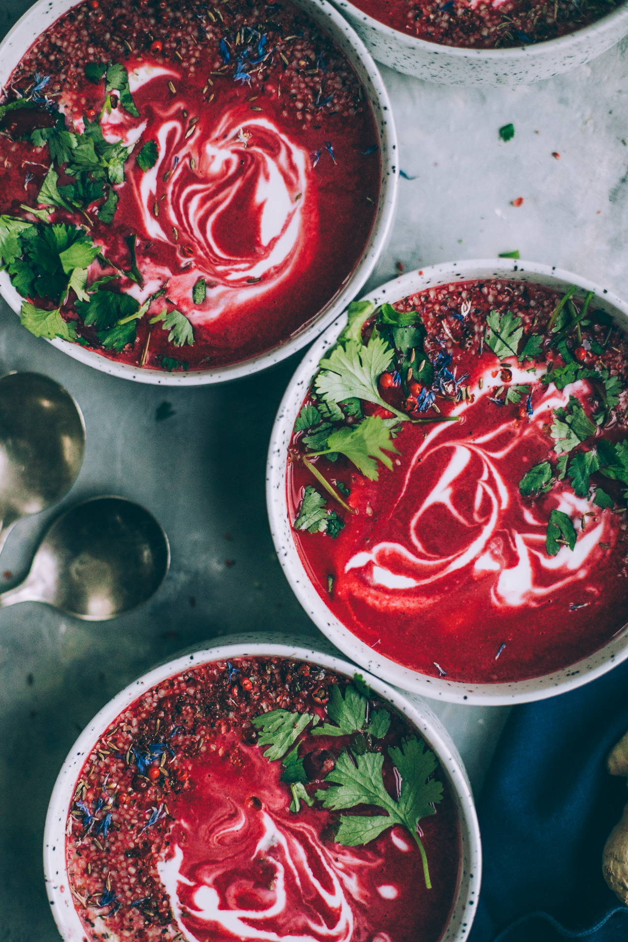 Creamy Beet Soup With Coconut, Ginger & Lime @ Will Frolic For Food #vegansoup #vegansouprecipe #creamyveganrecipe