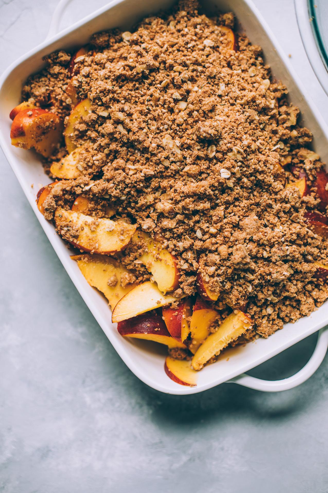 vegan peach crumble with walnut oat crumble, southern style | coconut oil crumble | vegan crisp recipe | healthy fruit crumble recipe | southern peach crisp