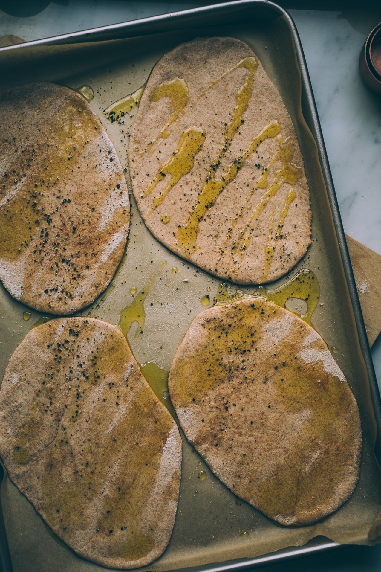 spelt naan pizza with garden veggies and goat feta | vegetarian pizza recipe | spelt pizza crust | easy pizza crust | spelt naan recipe | will frolic for food