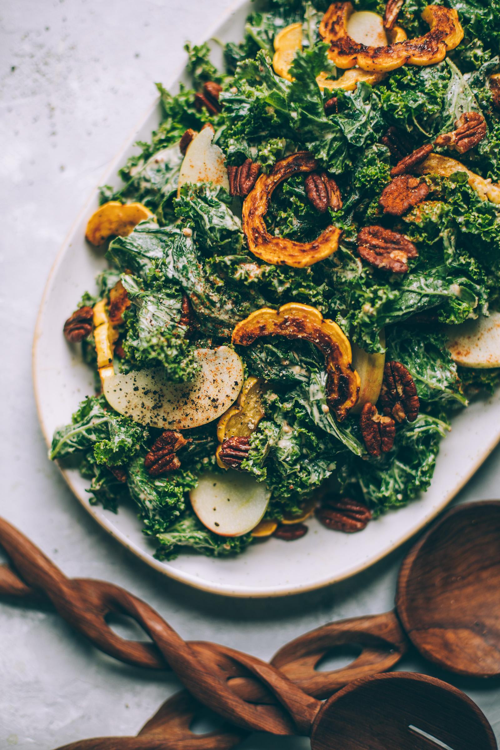 Harvest Moon Kale Caesar Salad Recipe with Cashew Maple Dijon Dressing + roasted delicata squash, apples and tamari pecans