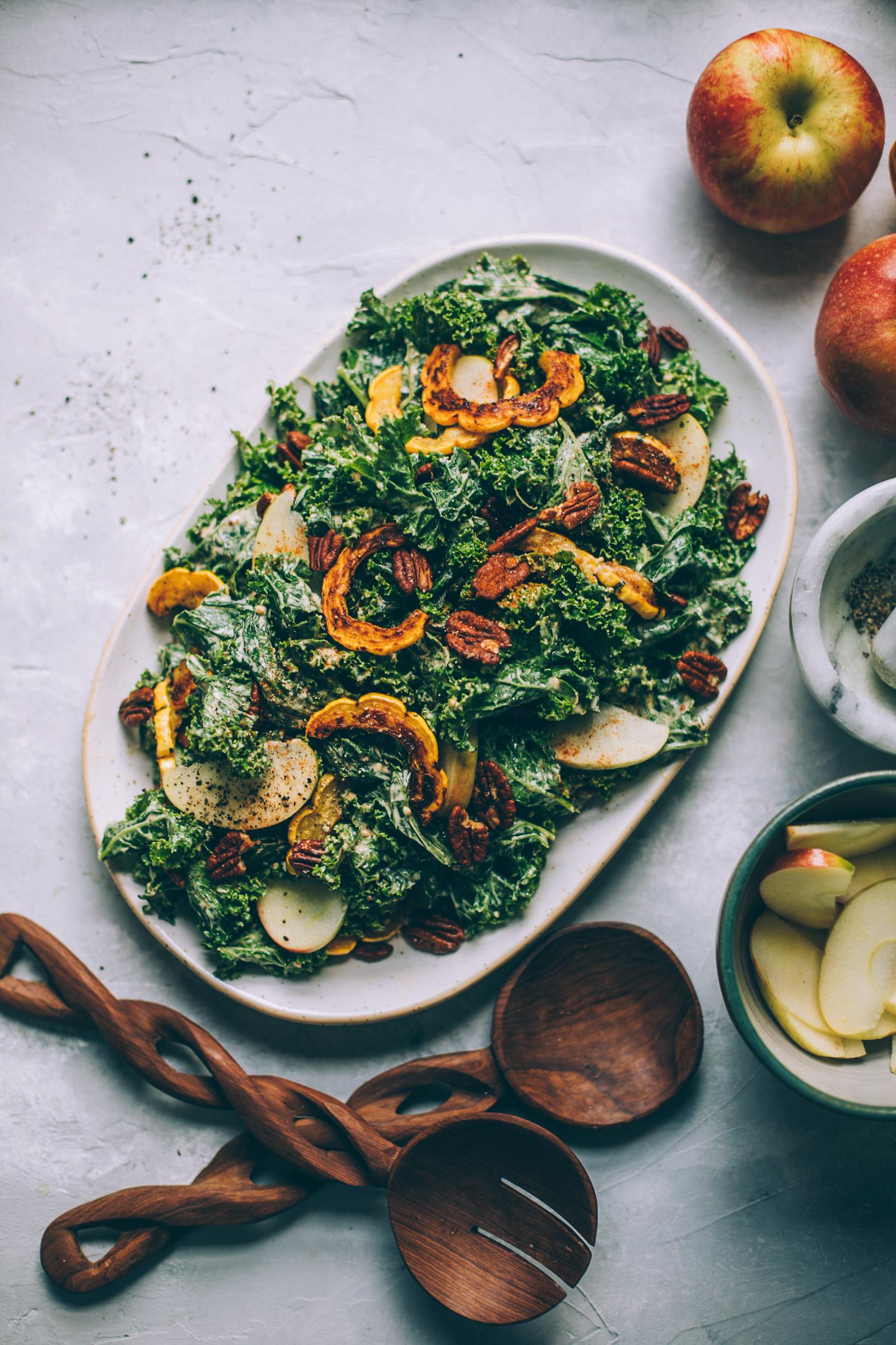 Harvest Moon Kale Caesar Salad with Cashew Maple Dijon Dressing + roasted delicata squash, apples and tamari pecans