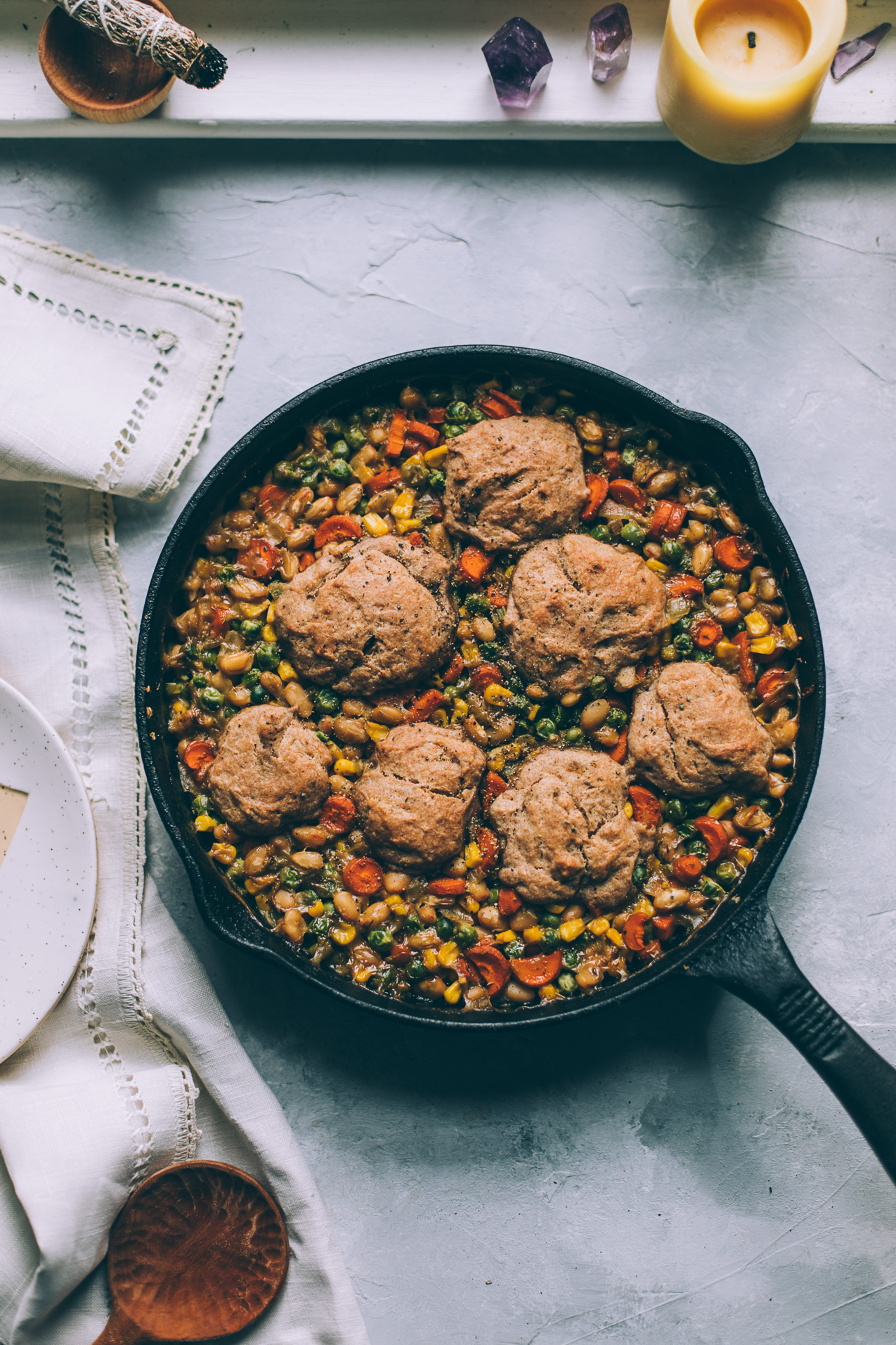 cozy white bean vegetable cobbler with spelt biscuits (vegan)