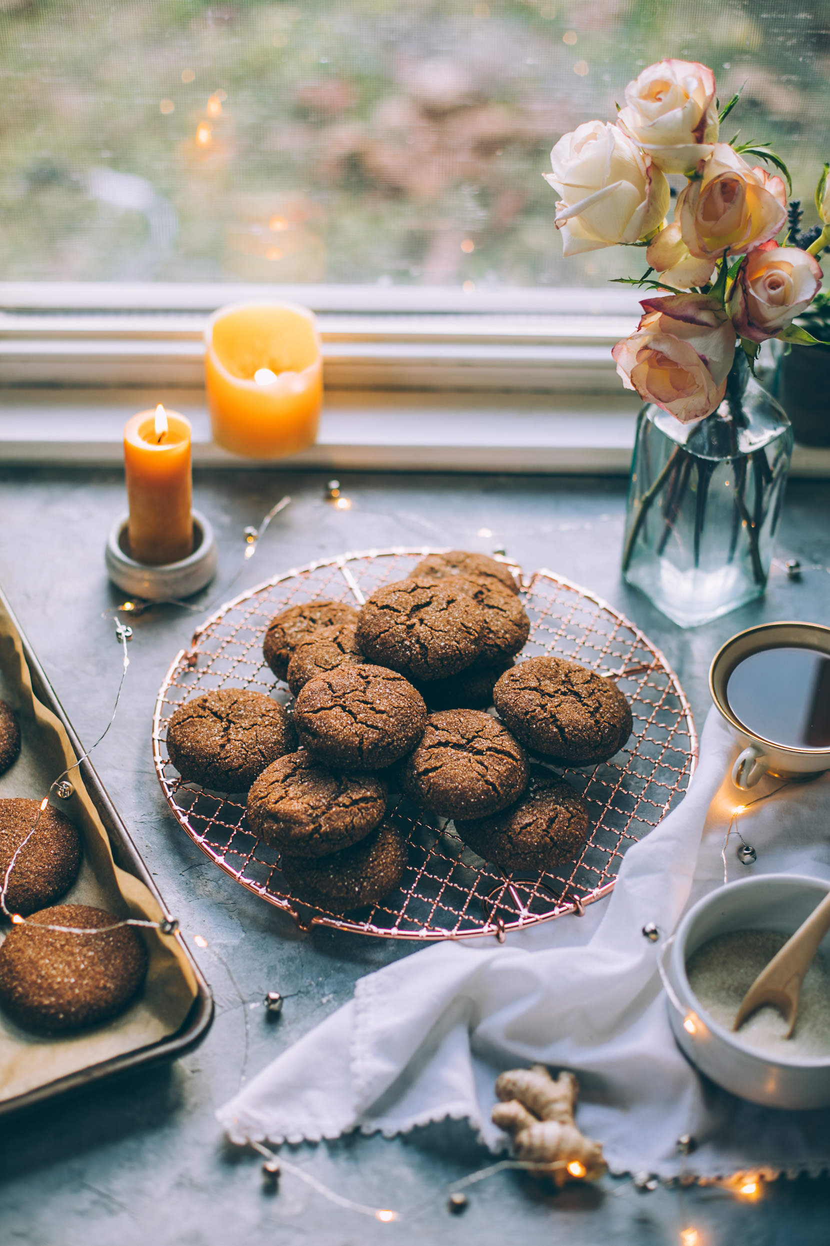 coconut sugar sweetened double ginger molasses cookies (dairy free, gluten free option