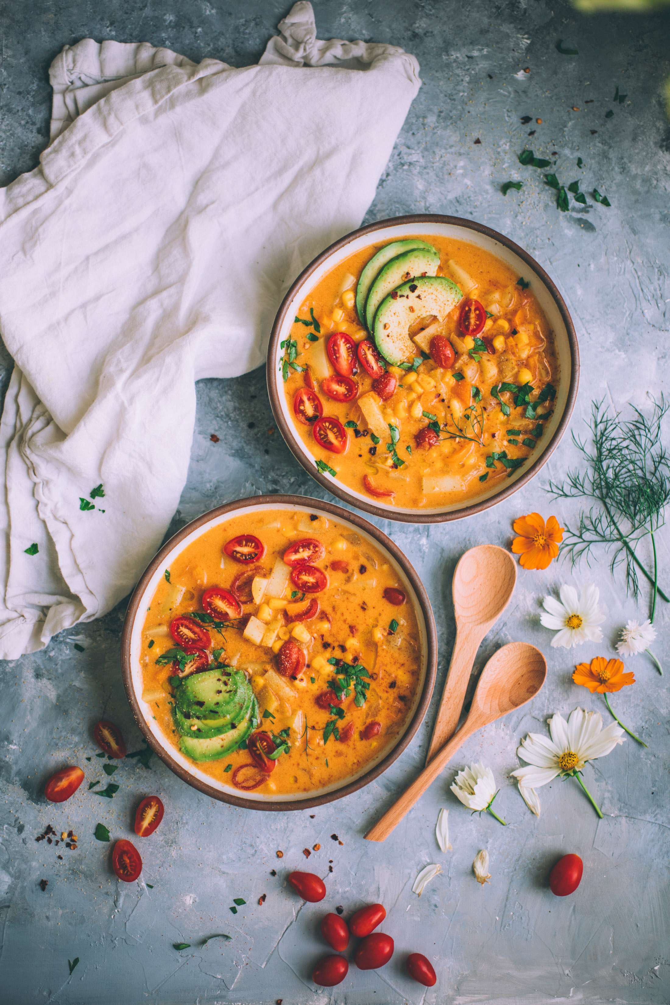 simple summer corn chowder (dairy free) recipe via willfrolicforfood.com