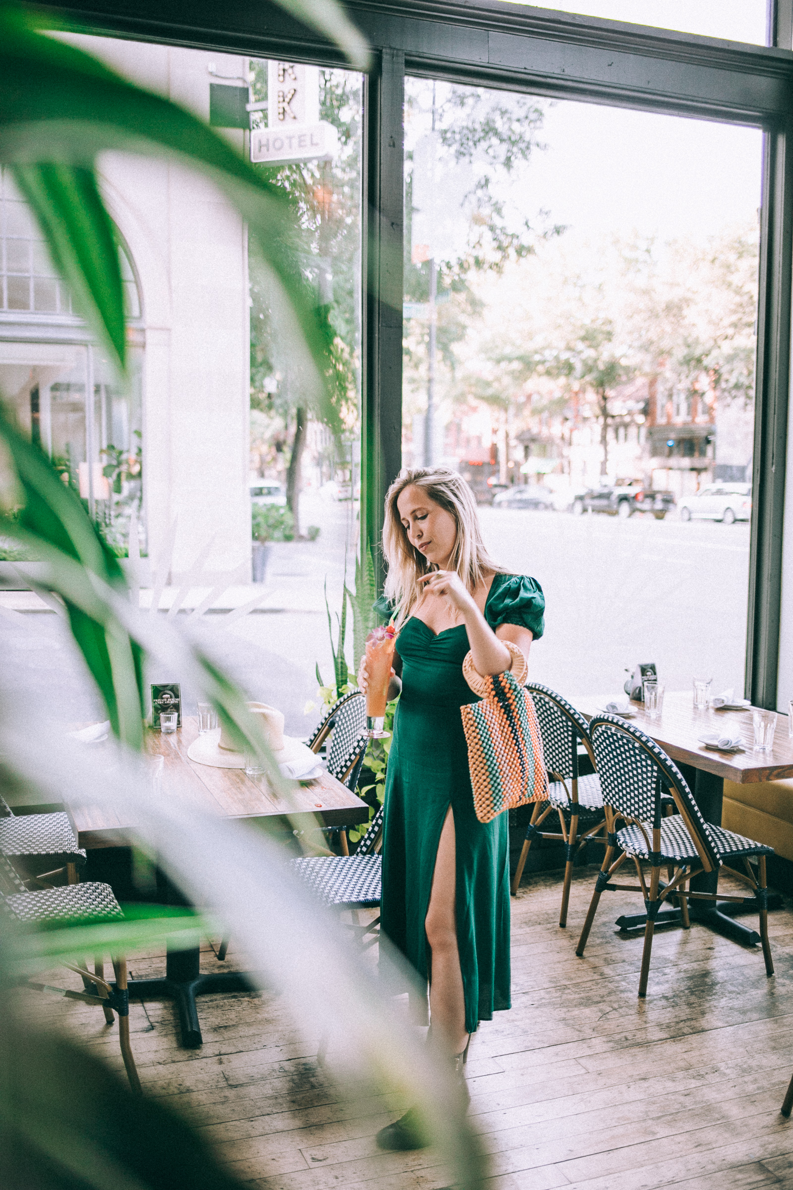 styling outfits for eating out | reformation dress, j crew boots, beaded tote