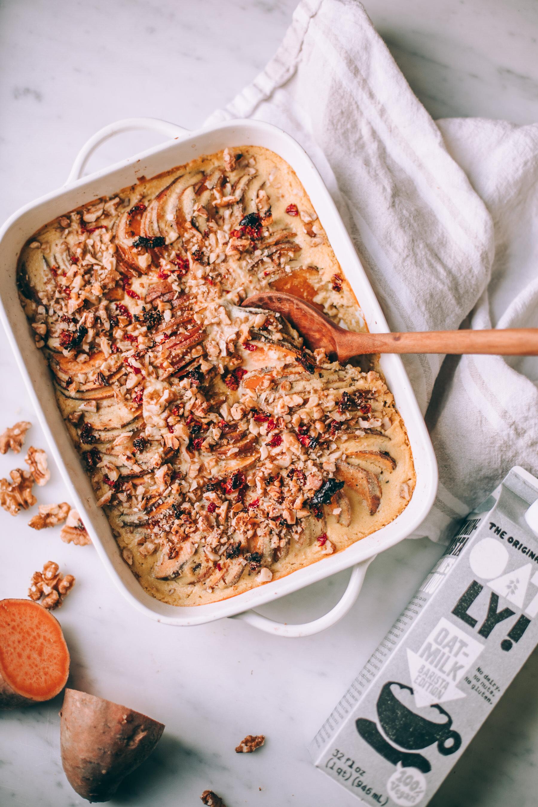 vegan sweet potato gratin made with Oatly oat milk - Recipe via will frolic for food
