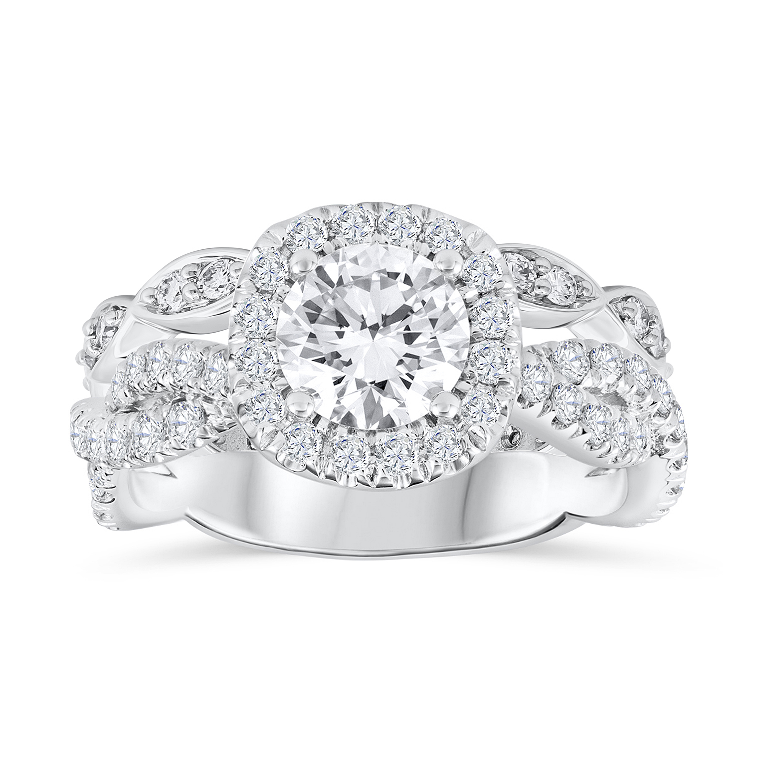 Diamond Halo Infinity Engagement Ring  matched with an  infinity-looking diamond eternity wedding band