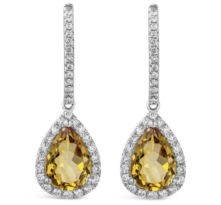 Pear Shaped Citrine and Diamond Halo Drop Earrings