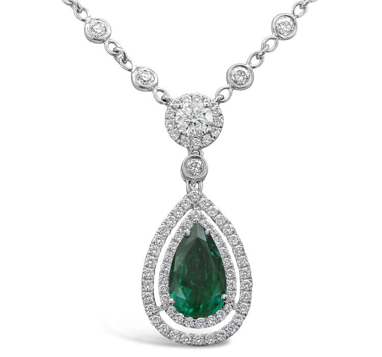 Green Emerald and Diamond Double Halo Drop Necklace