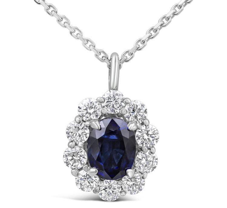 Gemstone and diamond halo pendant necklace