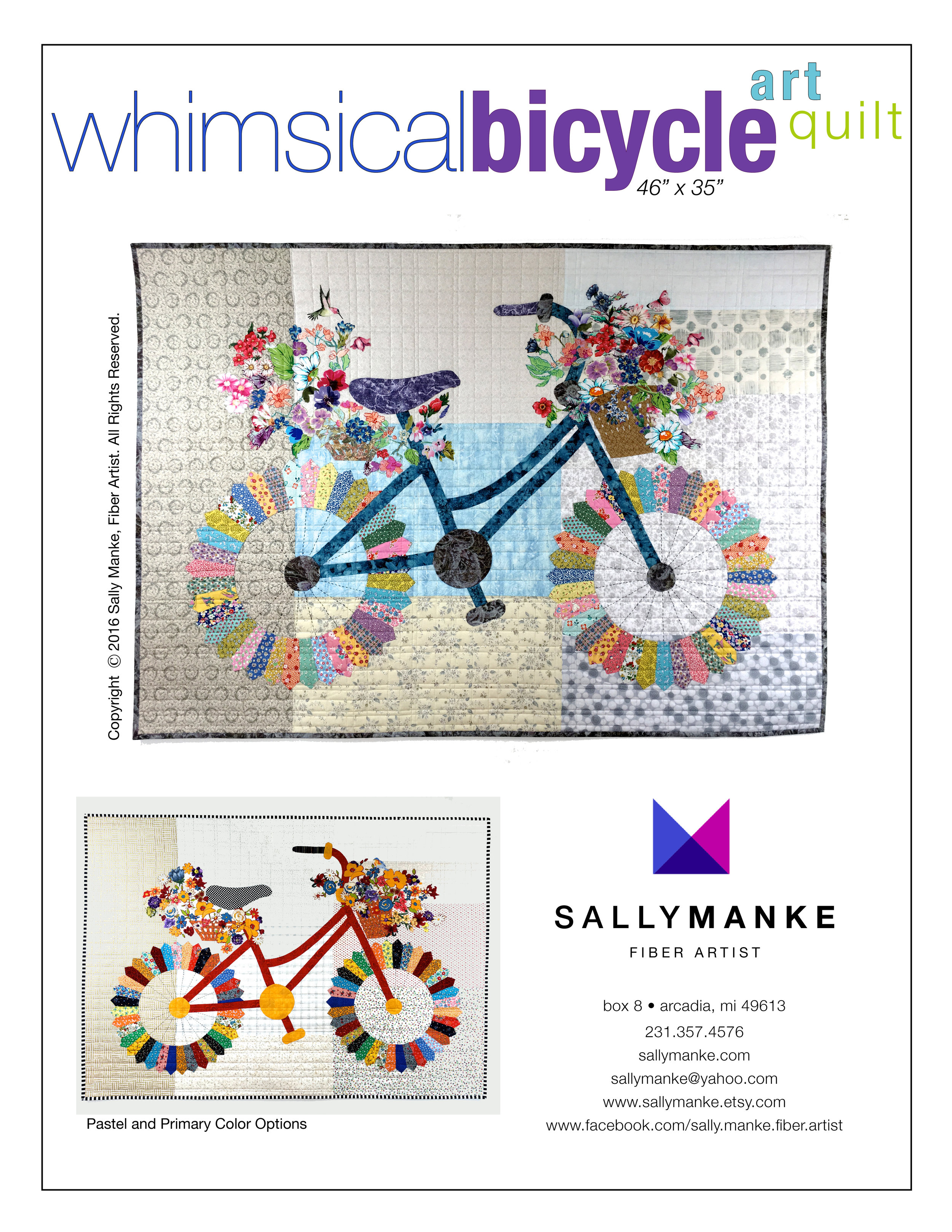 Whimsical Bicycle Art Quilt Pattern - 46