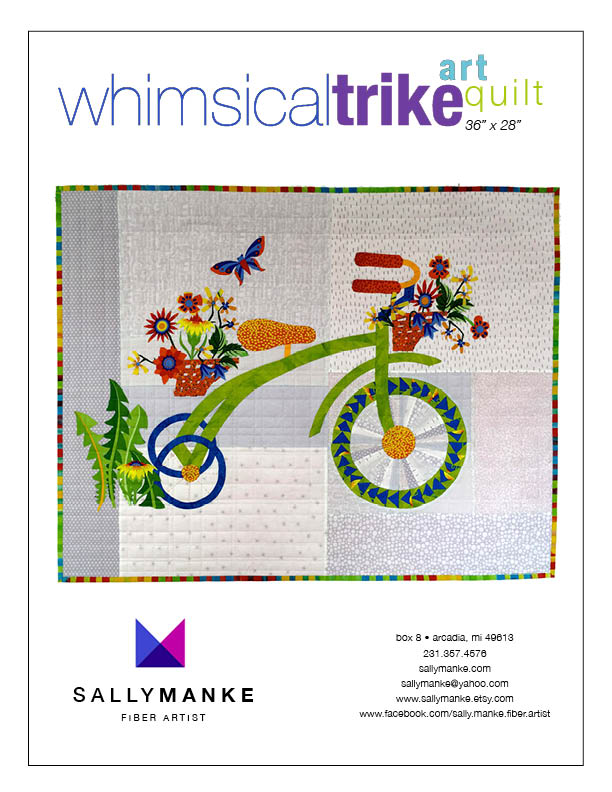 Whimsical Trike Art Quilt Pattern - 36