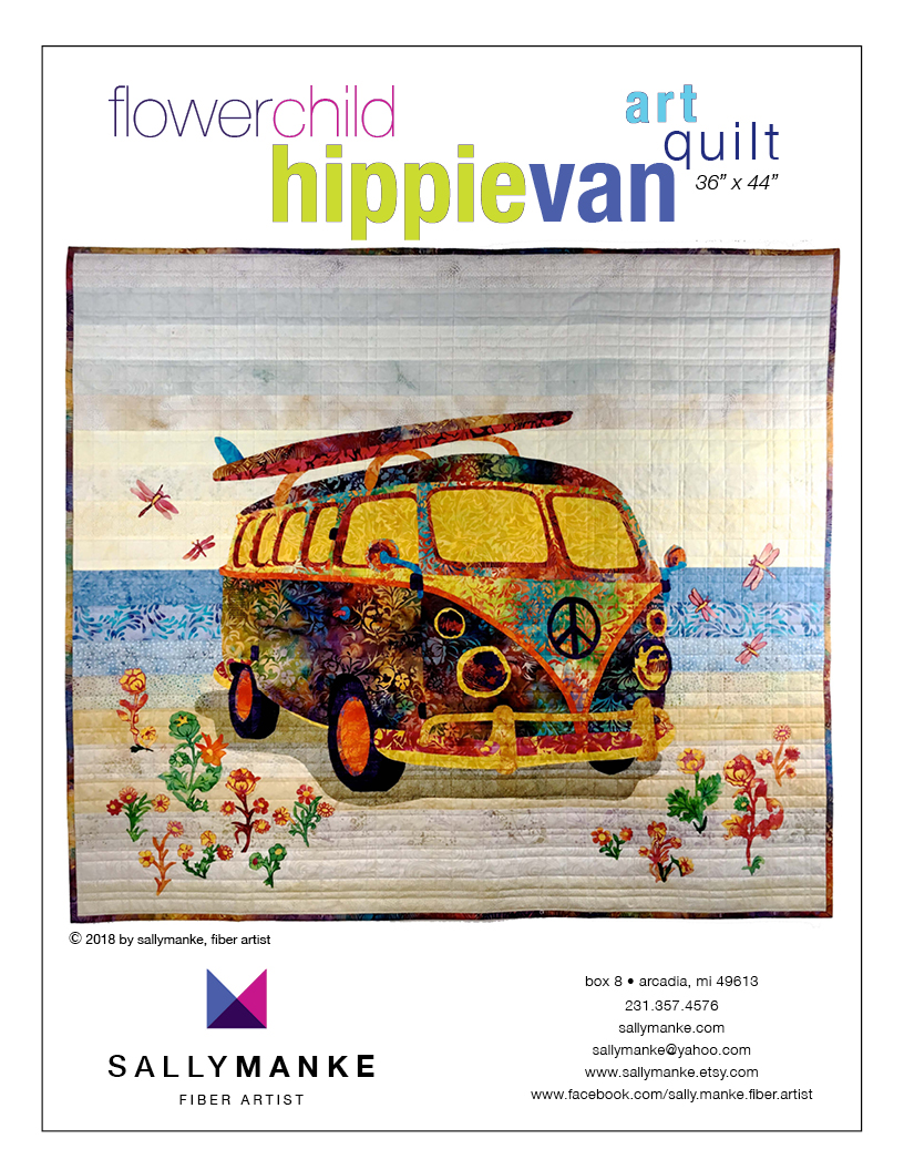 Flower Child Hippie Van Art Quilt Pattern - 36