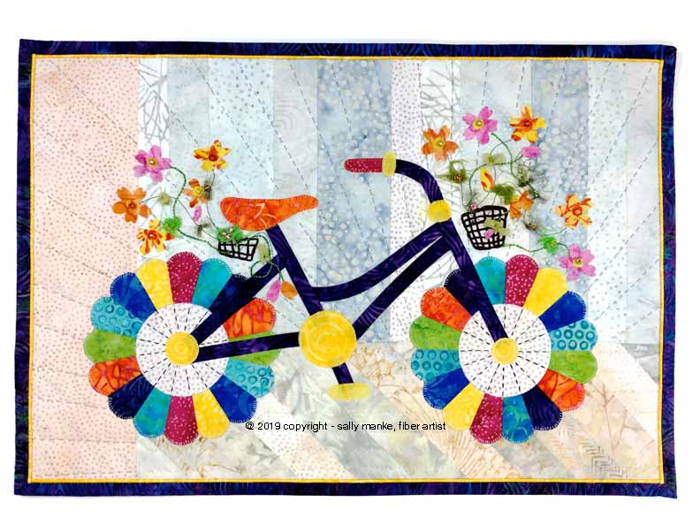 Mini Whimsical Bicycle Art Quilt