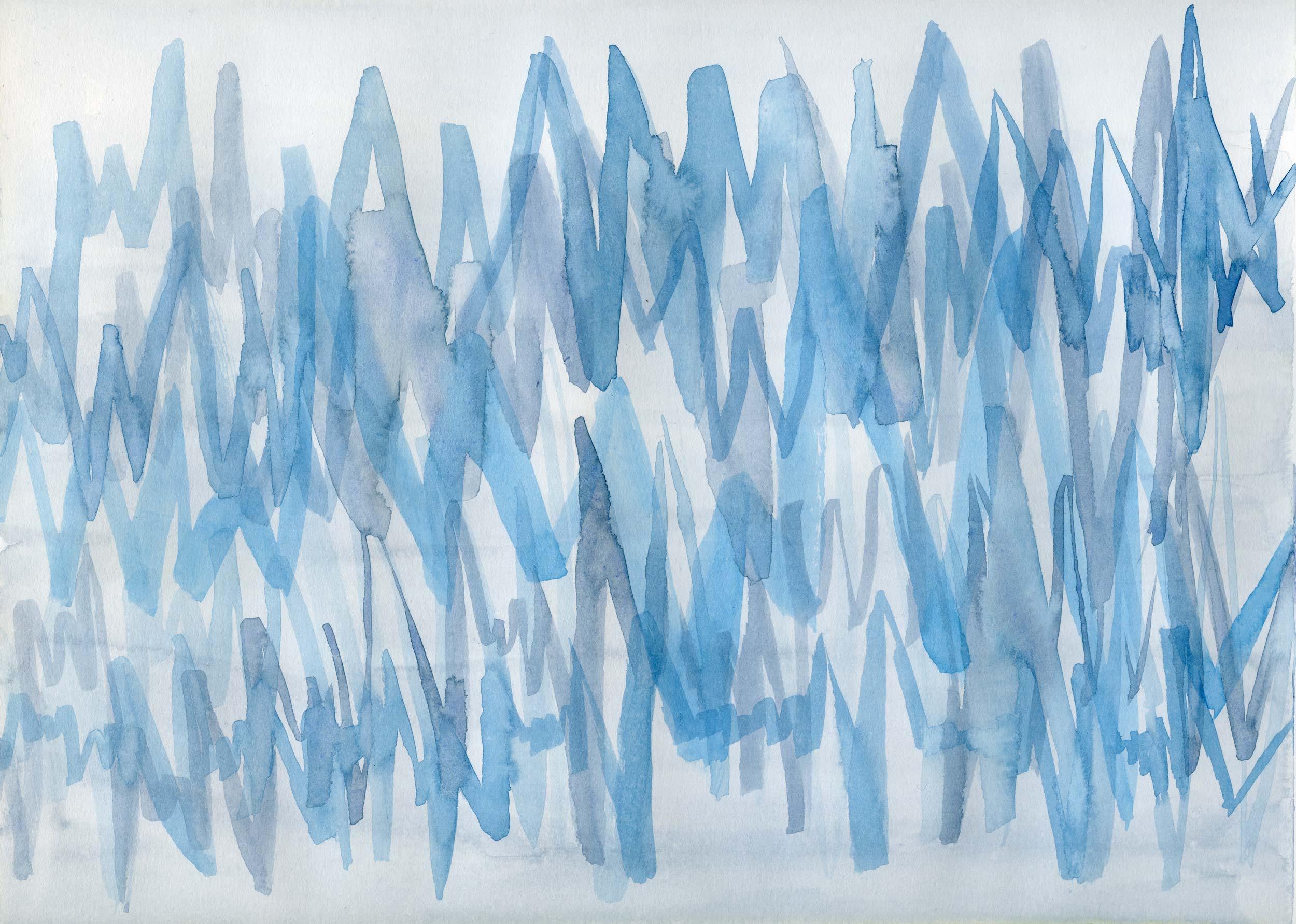 """""""Waveform I"""" - Original Watercolor on Hot Press Paper"""