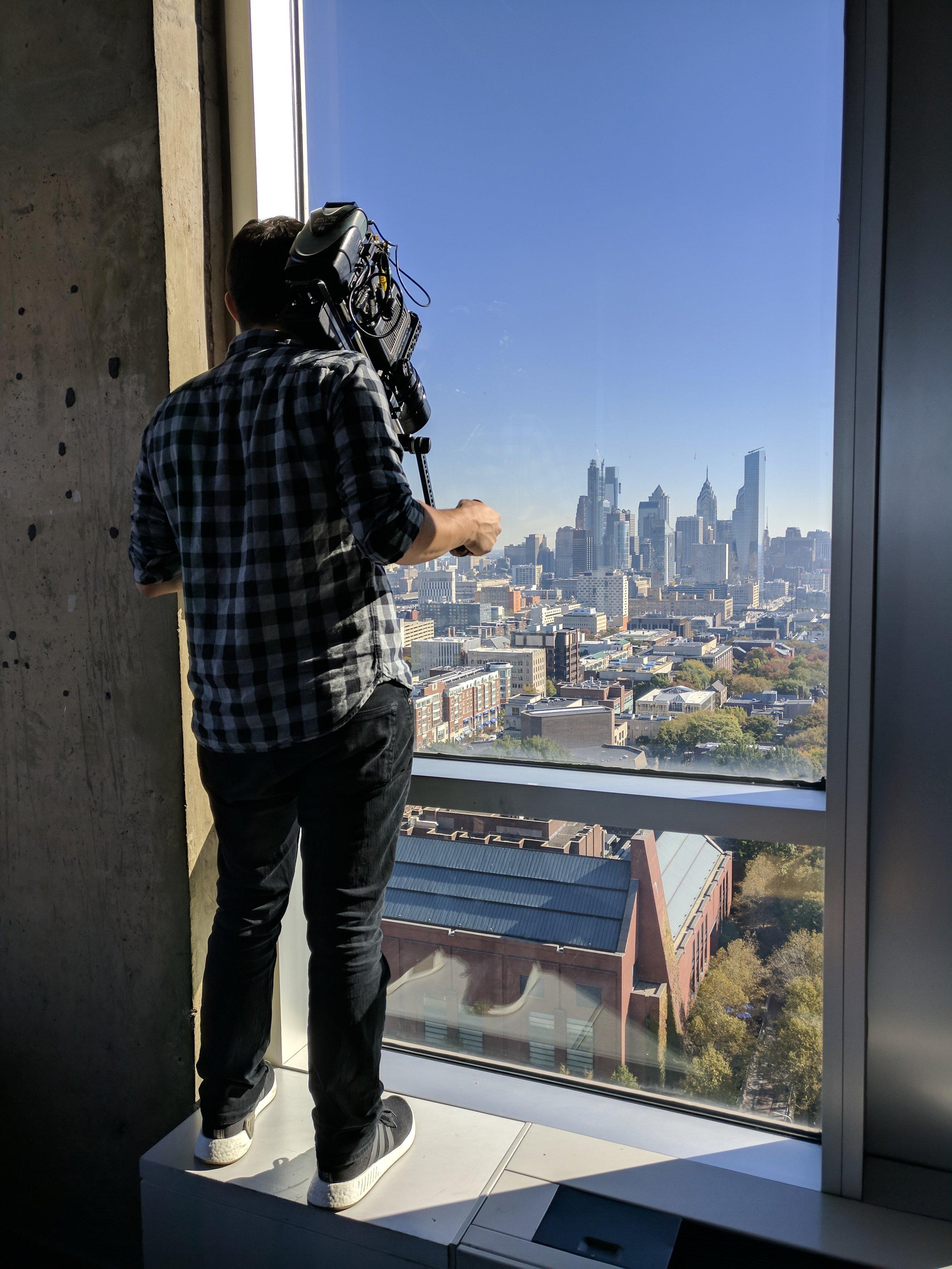Cinematographer Anthony Marotta grabs an establishing shot