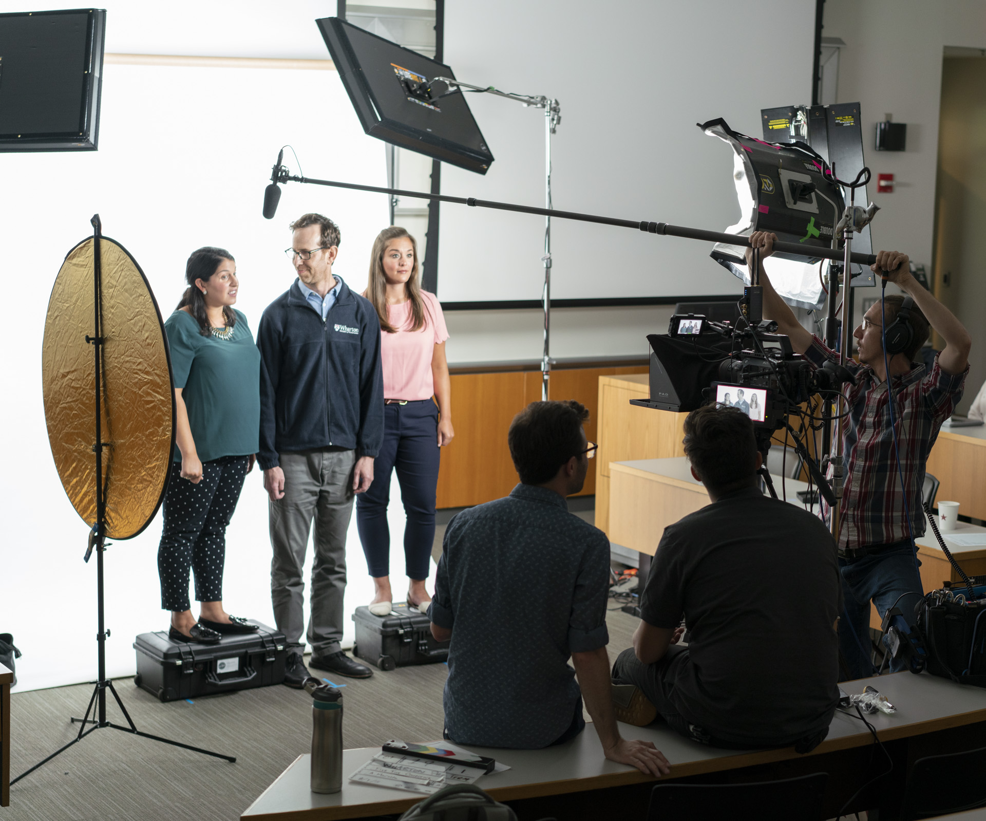 A lecture hall transformed into a video studio