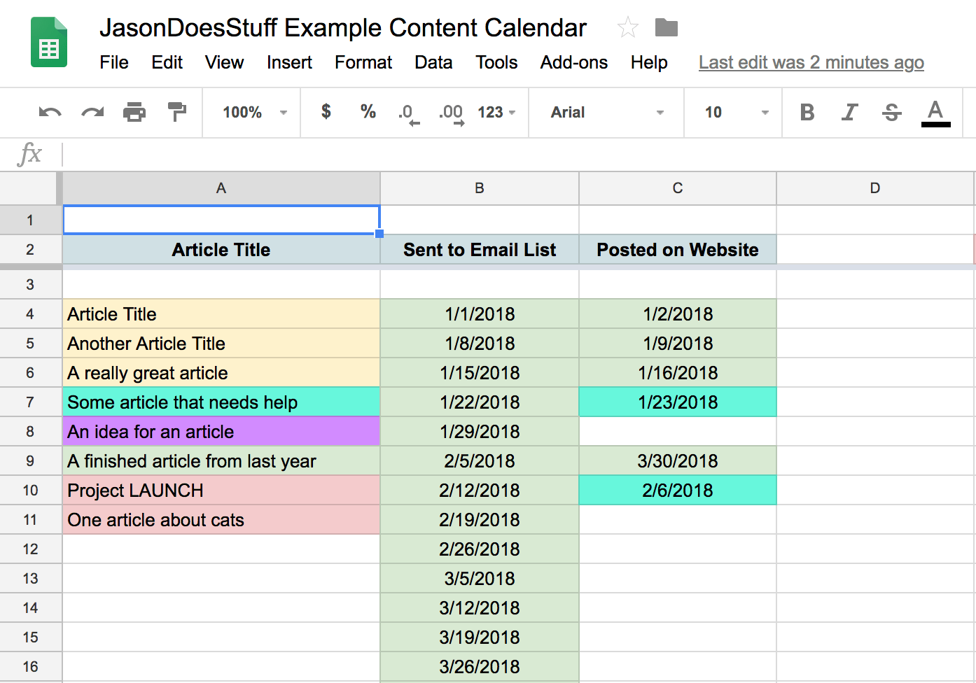 (Feel free to use the  sample content calendar  I created!)
