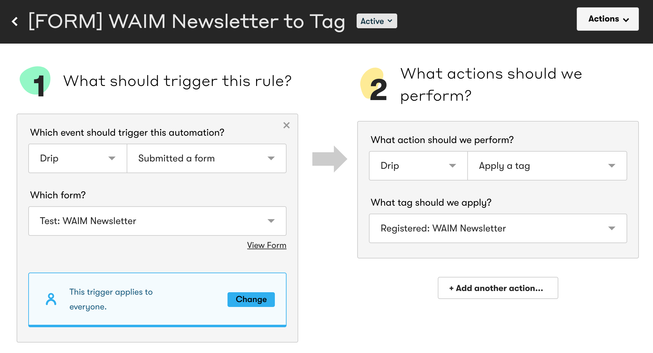 The form used in this automation rule is just a test right now but will be our real forms in the future!