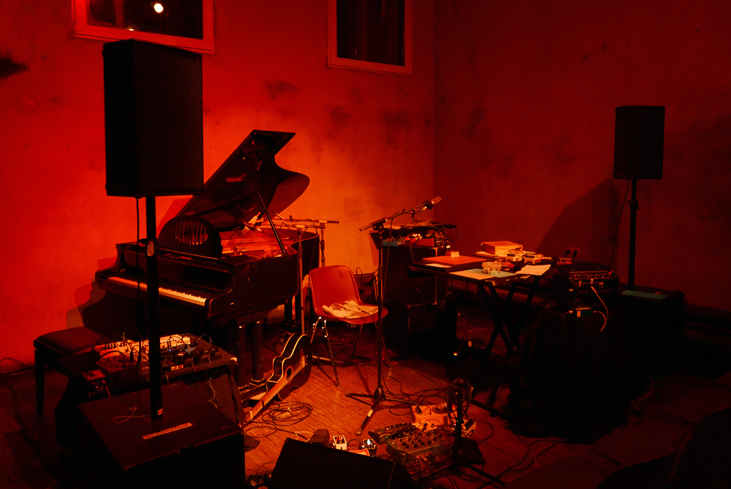 Ausland, Berlin. Prepared stage for the Sonic Pieces 10 year anniversary. Photo by Erik K Skodvin
