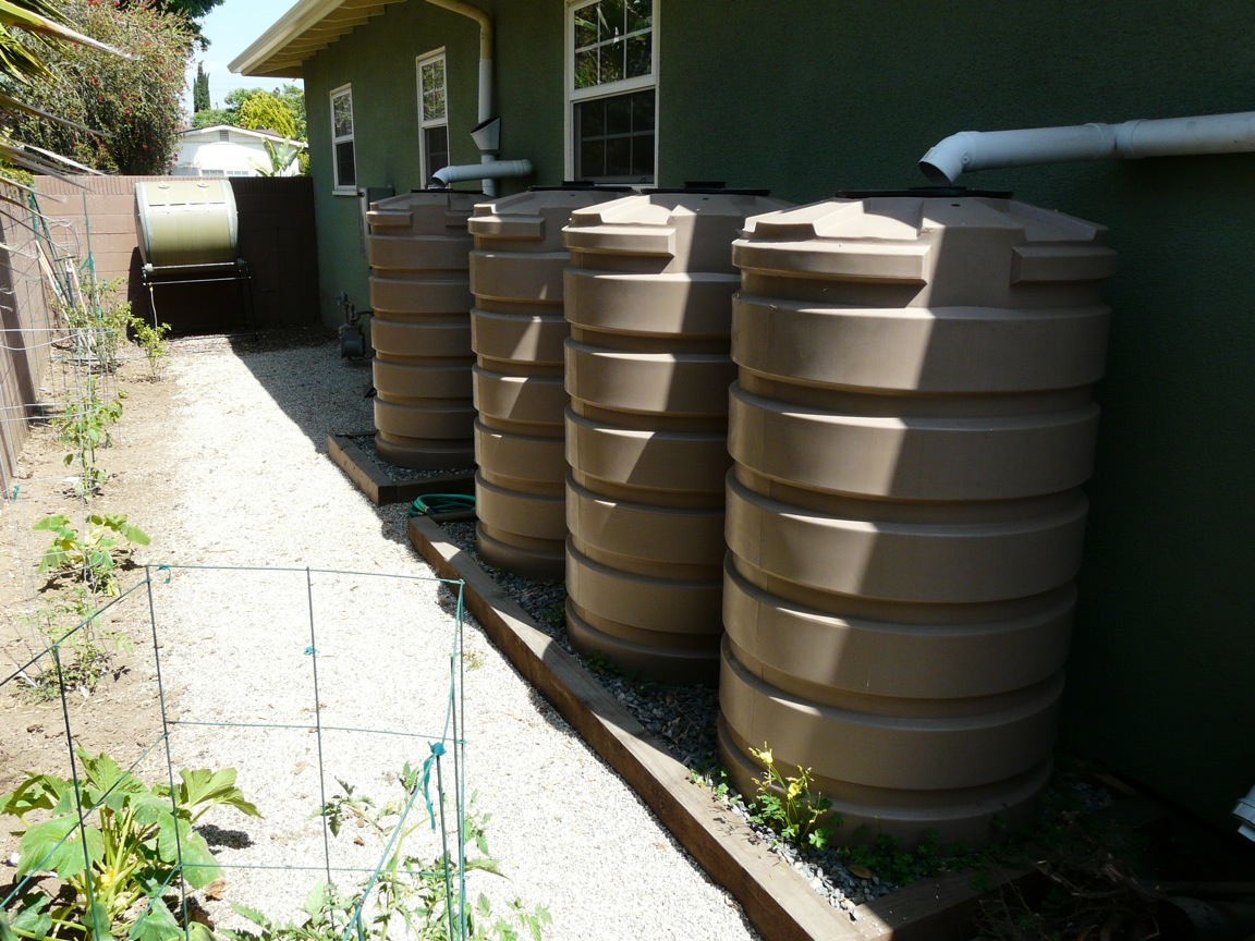 Rain Tanks & Cisterns  - Rain tanks and cisterns are containers that can capture rainwater runoff from rooftops and store that water for use at a later time. The stored water is then used to supplement or replace irrigation systems, providing water for plants, trees, and edible gardens.