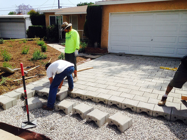 Permeable Paving - In Water LA, impermeable surfaces are taken out, broken up and redesigned into alternative walkways or driveways through the property which support the landscape so it can capture water.