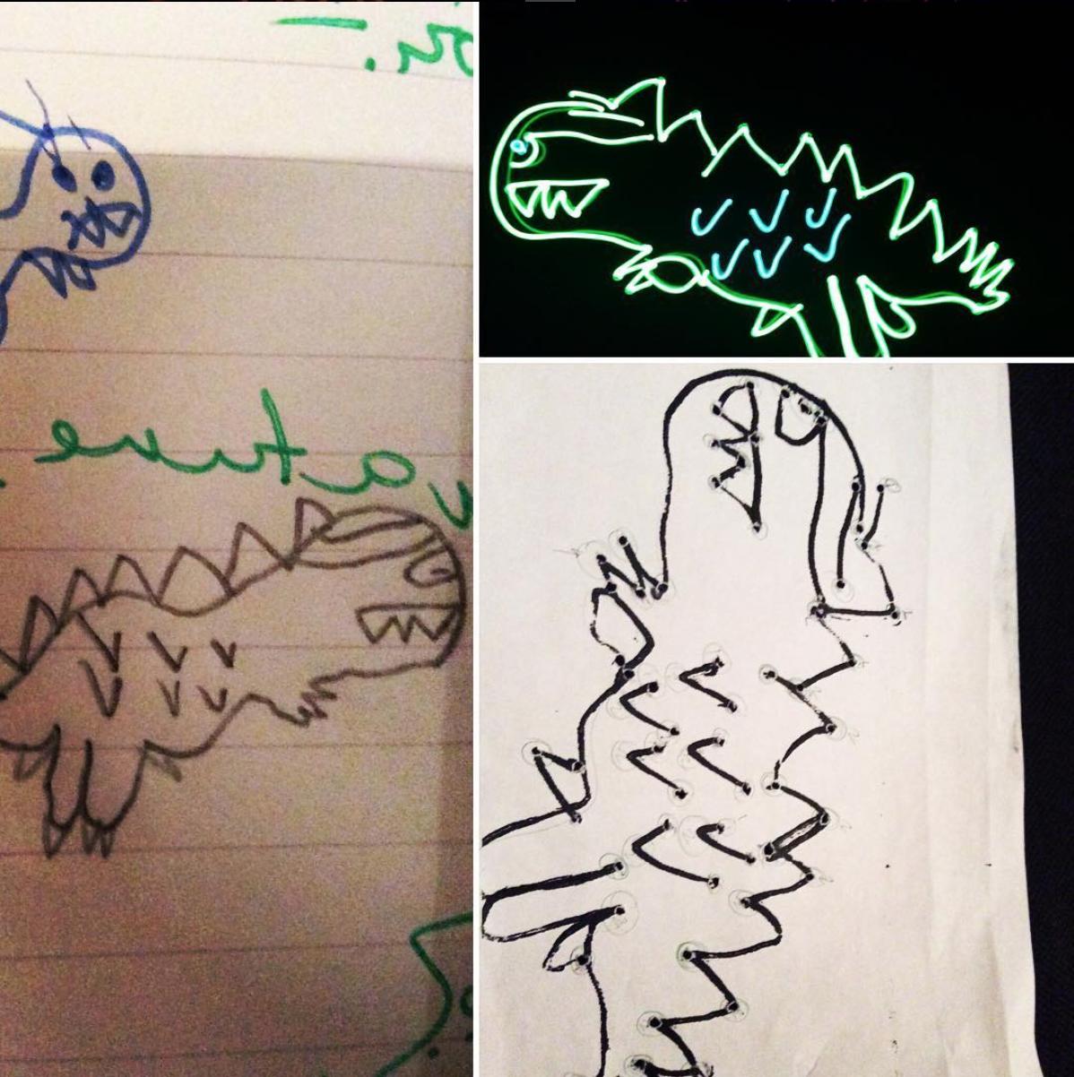 Johnni, aged 8, original dinosaur drawing.
