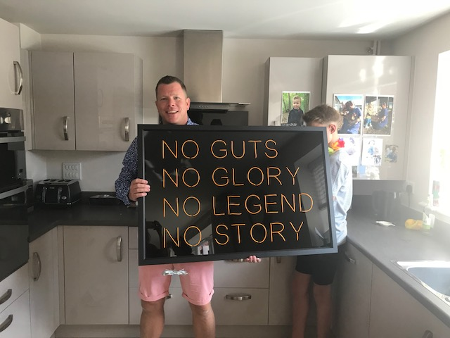 """No Guts No Glory No Legend No Story - """"Just to say James is one VERY happy man and absolutely loves the installation. Thank you !!!  It was planned for his office (by us) but he loves it so much he has convinced his wife to put it in the kitchen.  Thanks again for all your hard work (and great wrapping !!)"""""""