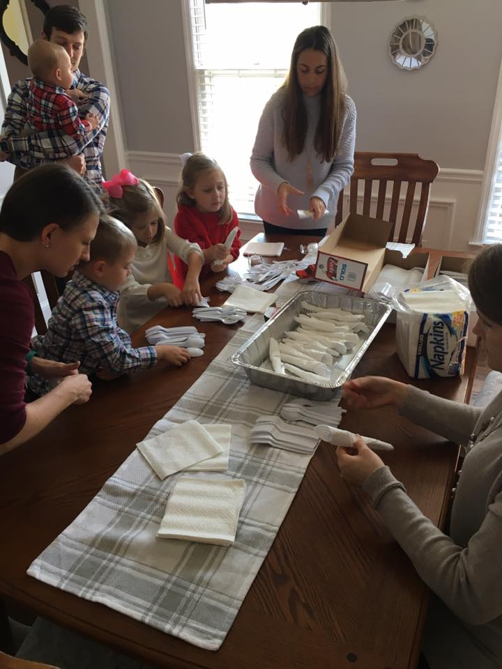 Life Group rolling flatware for Must Ministries. A great project to work on with the kids!