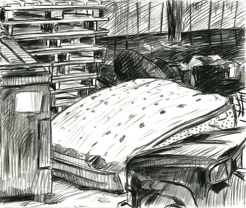 TAKING INVENTORY - grease pencil on Yupo paper, 2016-17