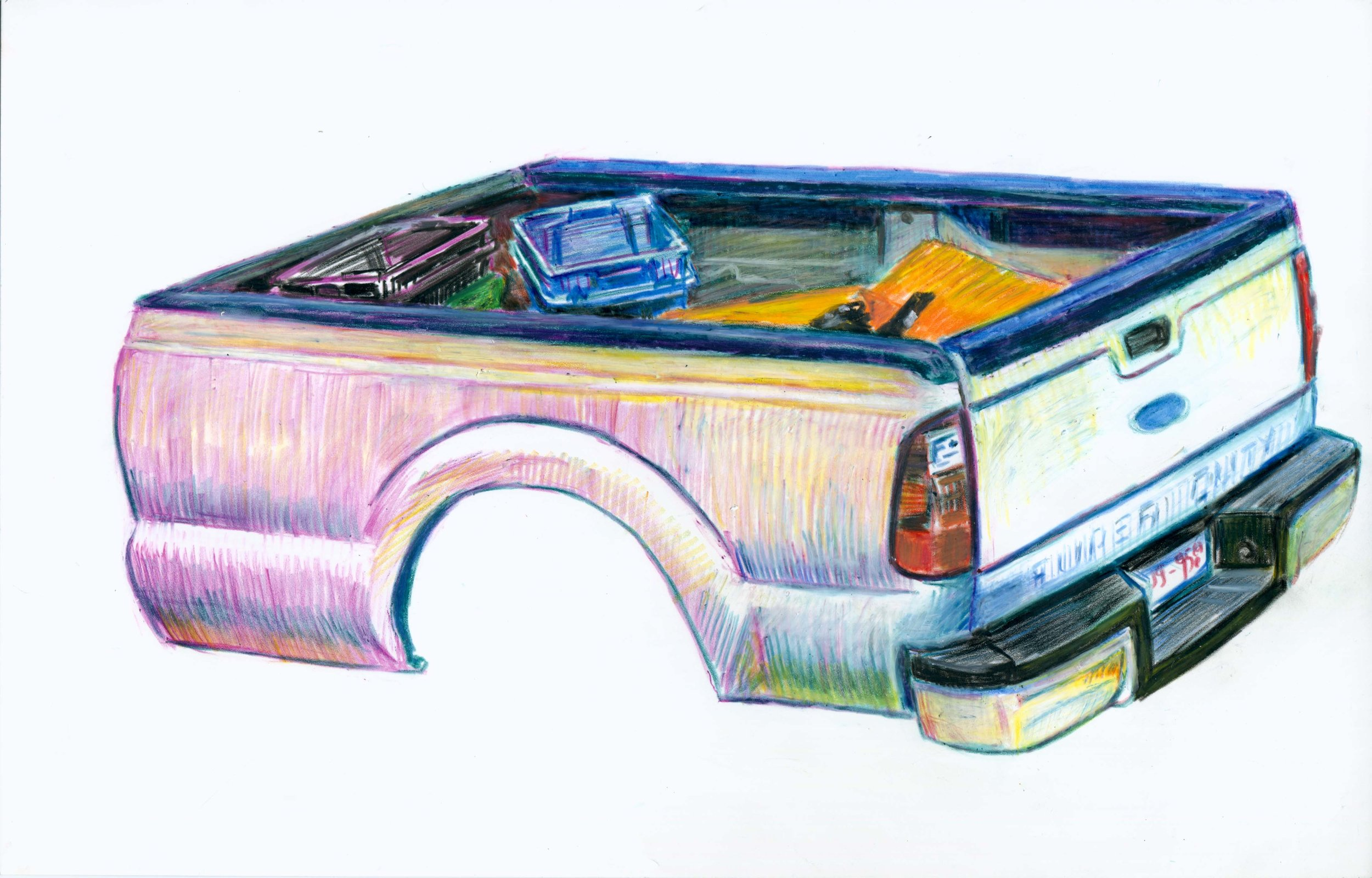 TRUCK BEDS - grease pencil on Yupo paper, mounted on wood, 2017-18