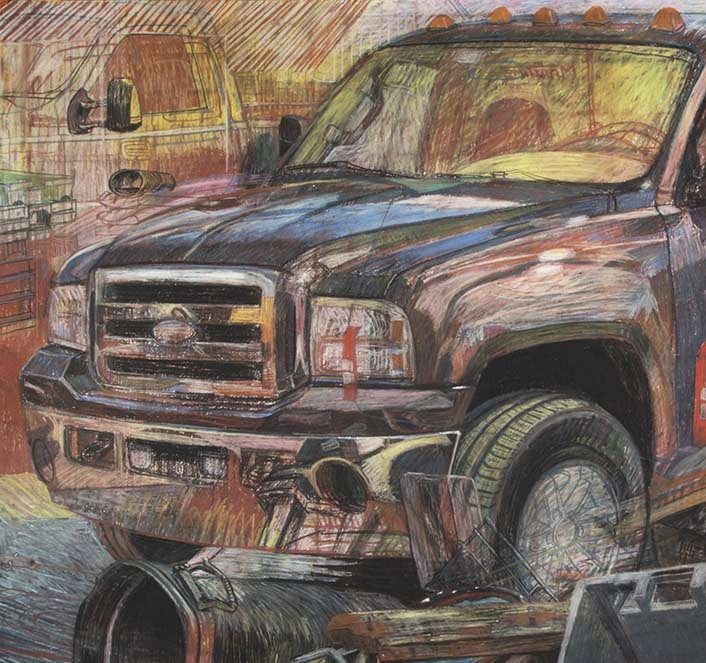 MONSTER TRUCKS - conte and pastel on paper, 2017-18
