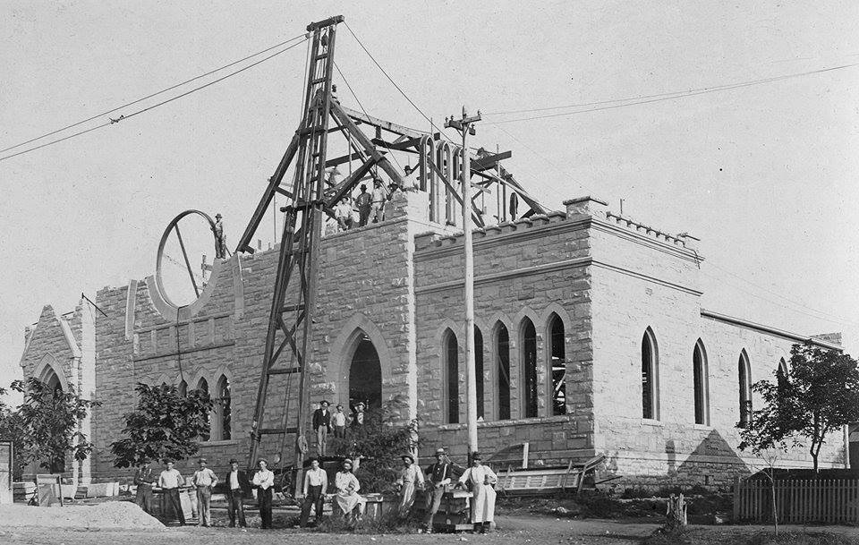 This is St. Patricks Church on Ottawa's West Side (the Best Side) under construction. 1893-1898