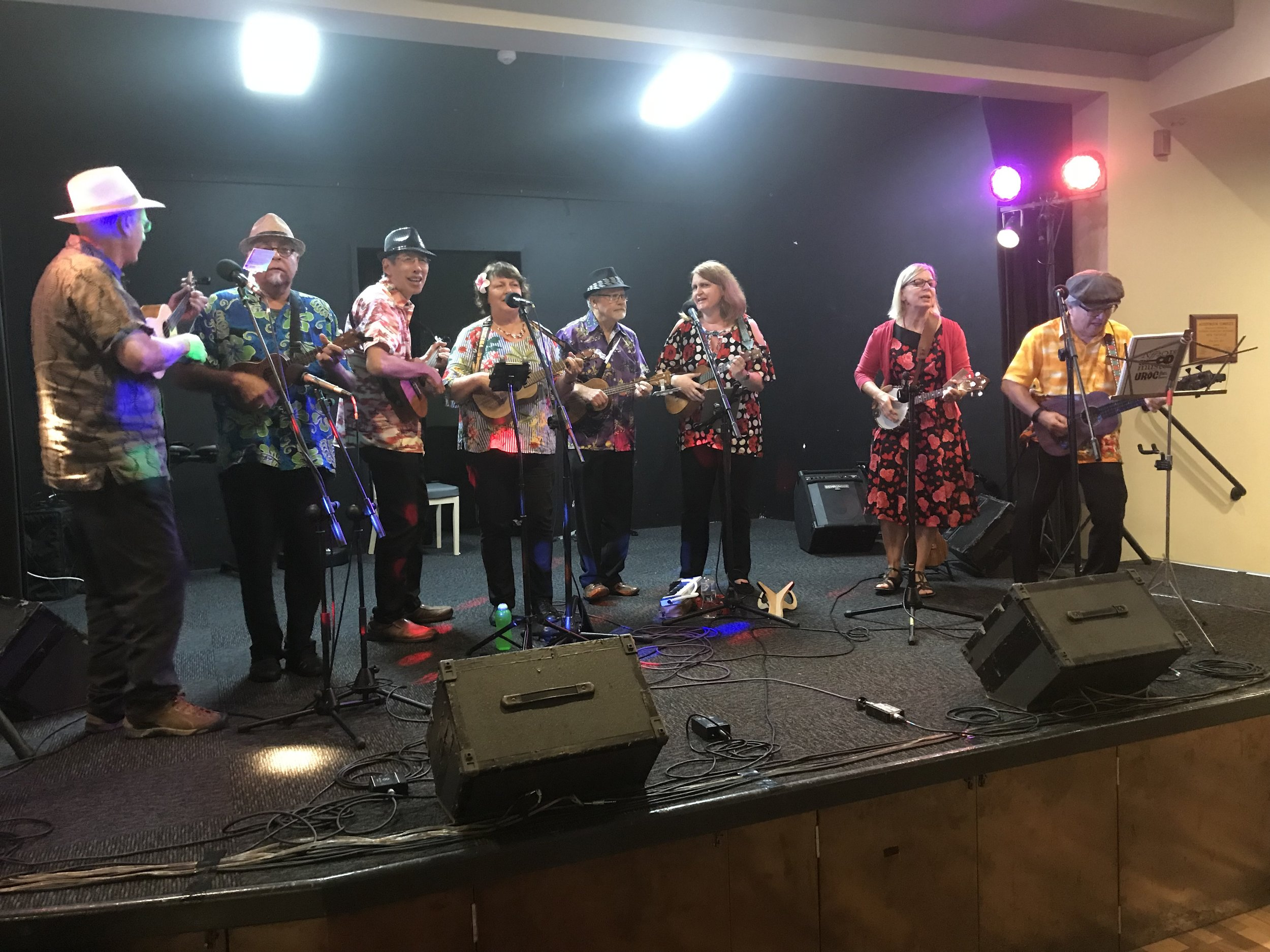 The Ukulele Republic of Canberra on stage at the Shoalhaven Heads Ukulele Festival in April 2018 -