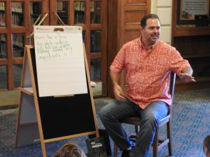 Tim Griffin teaching his songwriting class at the Pasadena Public Library (Photo: AnnMarie Hurtado). Full story here -