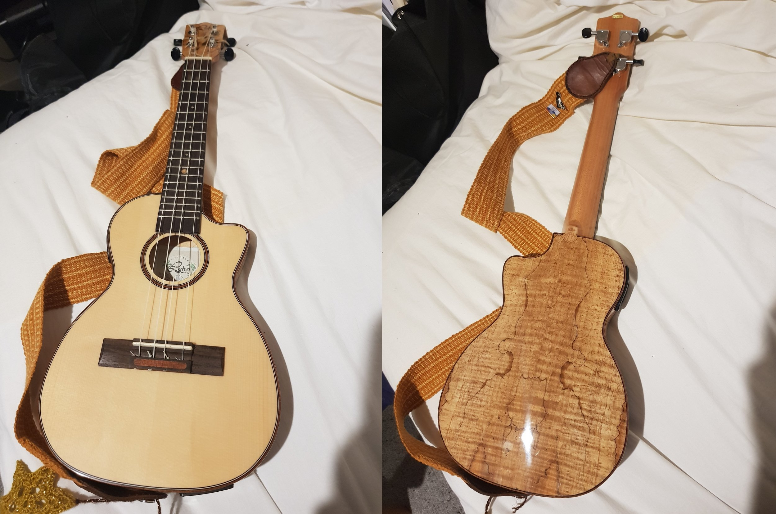 Front and back view of Sandra Shaw's travel ukulele.